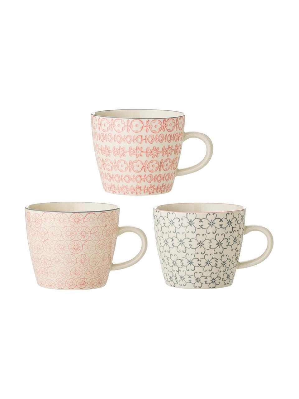Tassen Cécile mit kleinem Muster, 3er-Set, Steingut, Mehrfarbig, Ø 10 x H 8 cm