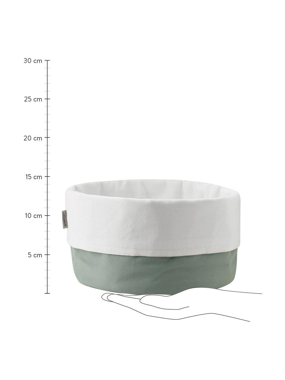 Leinen-Brotkorb Oleg, 100% Baumwollleinen, Grün, Weiß, Ø 23 x H 21 cm