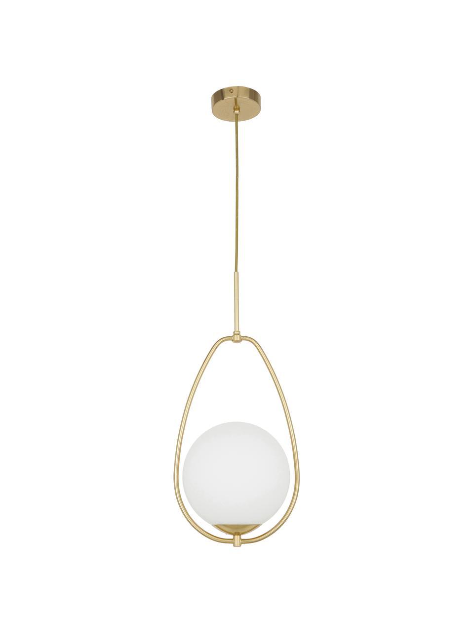Suspension verre opalescent Avalon, Blanc, couleur dorée