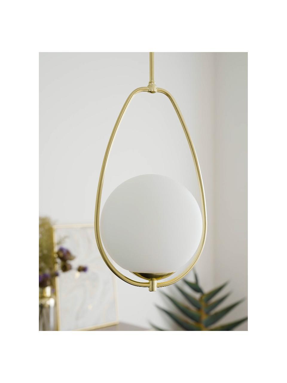Kleine hanglamp Avalon van opaalglas, Lampenkap: glas, Wit, goudkleurig, Ø 23  x H 51 cm