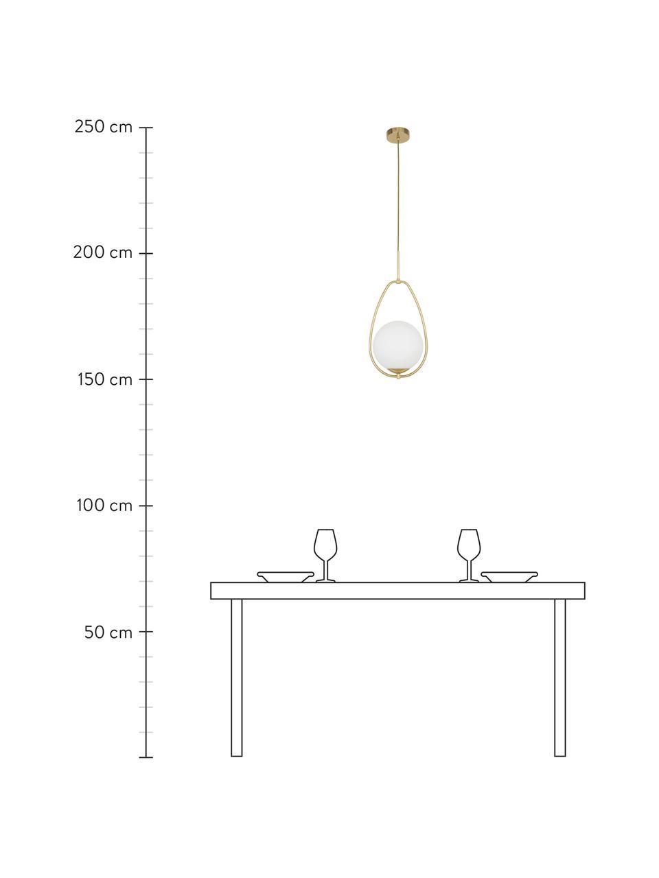 Lampada a sospensione in vetro opale Avalon, Paralume: vetro, Baldacchino: metallo verniciato, Bianco, dorato, Ø 23 x Alt. 51 cm