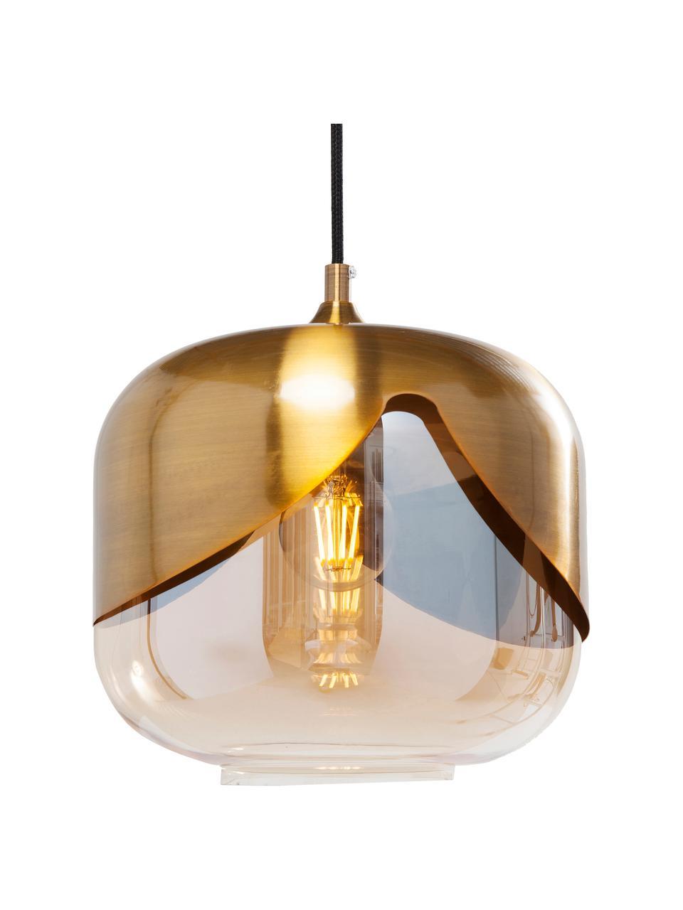 Lampada a sospensione in vetro Golden Goblet, Baldacchino: metallo ottonato, Ottone, Ø 25 cm