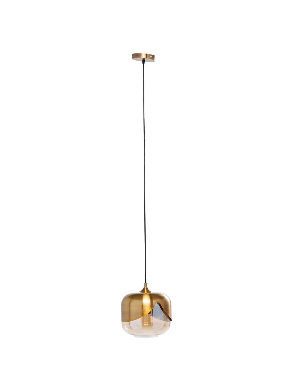 Kleine Pendelleuchte Golden Goblet aus Glas, Baldachin: Metall, vermessingt, Messing, Ø 25 cm