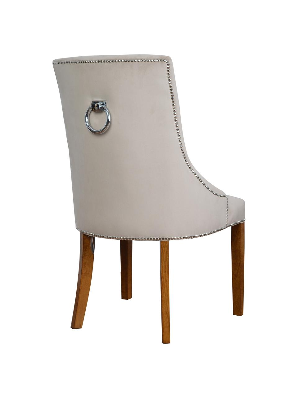 Krzesło tapicerowane z aksamitu Madam, Tapicerka: aksamit (100% poliester), Aksamitny beżowy, nogi: jasny brązowy, S 56 x G 64 cm