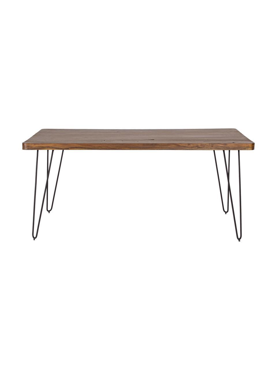 Stół do jadalni z blatem z litego drewna Edgar, Blat: drewno akacjowe, Nogi: metal, Drewno akacjowe, czarny, S 175 x G 90 cm