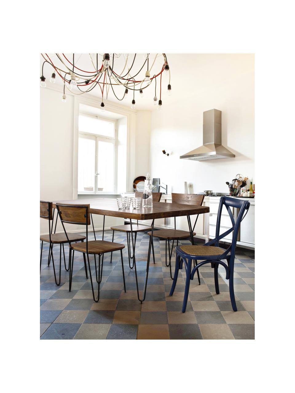 Tavolo con piano in legno massello Edgar, Piano d'appoggio: legno di acacia, Gambe: metallo, Legno di acacia, nero, Larg. 175 x Prof. 90 cm