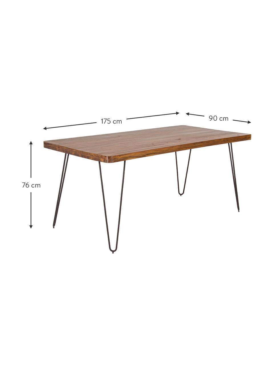 Esstisch Edgar mit Massivholzplatte, Tischplatte: Akazienholz, Beine: Metall, Akazienholz, B 175 x T 90 cm