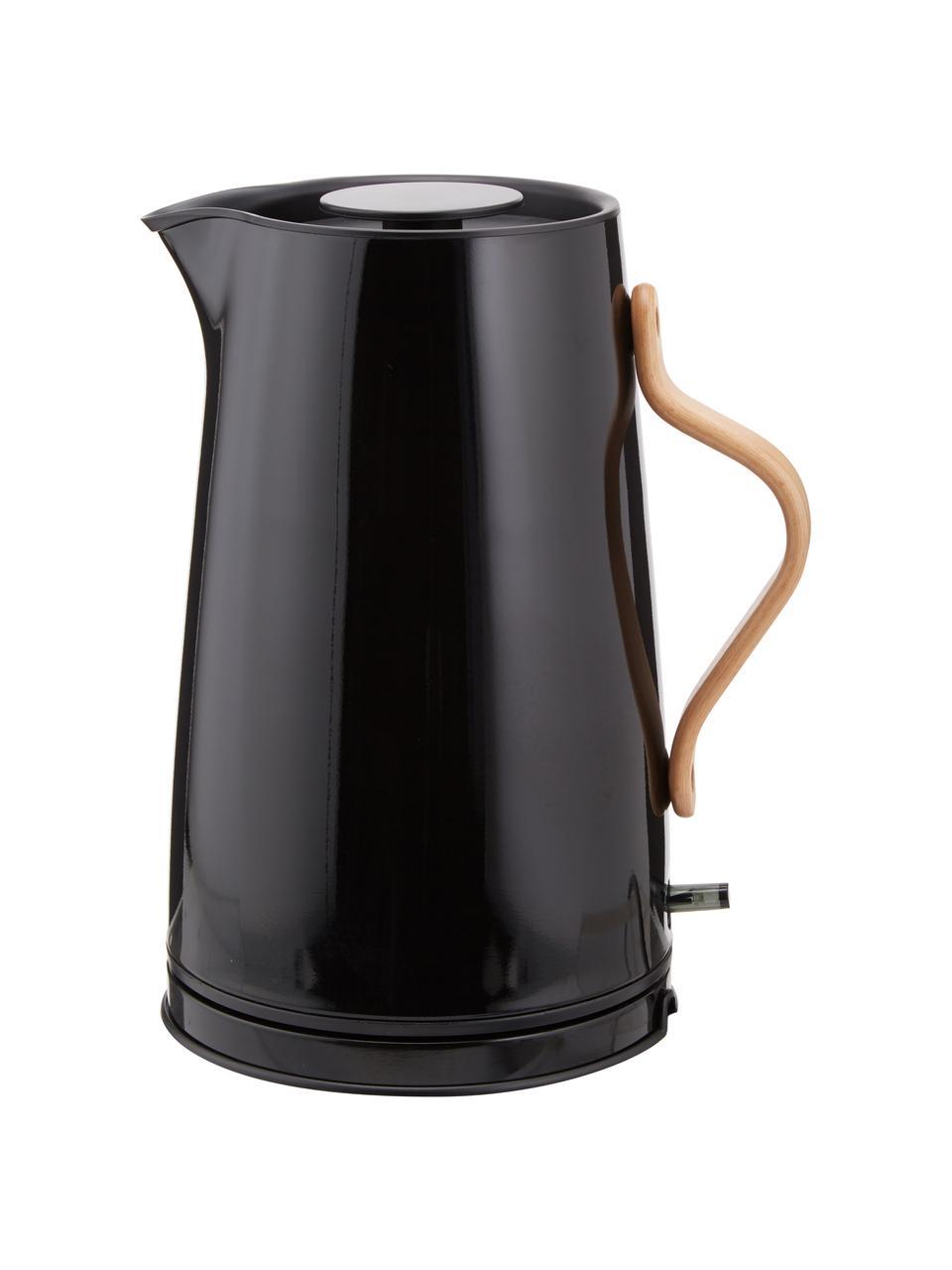 Bollitore elettrico in nero lucido Emma, Manico: legno di faggio, Nero, 1,2 L