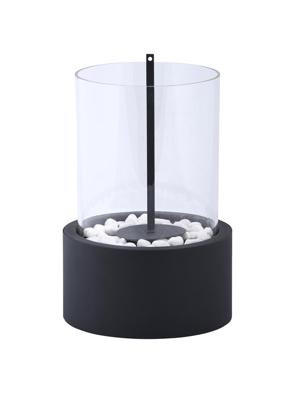 Bioethanol-Tischkamin Damin, Sockel: Metall, beschichtet, Schwarz, Transparent, Ø 19 x H 27 cm