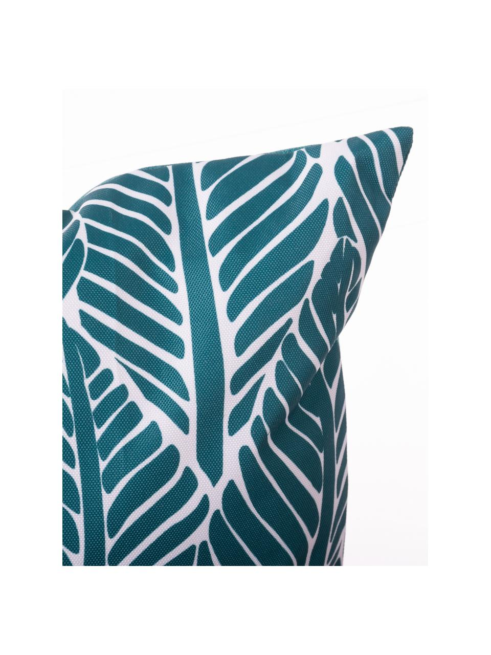 Outdoor-Kissen Sanka mit Blättermotiv, mit Inlett, 100% Polyester, Blau, 45 x 45 cm