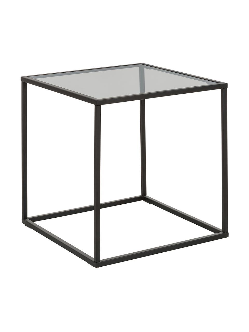 Bijzettafel Maya met glazen tafelblad, Tafelblad: veiligheidsglas, Frame: gepoedercoat metaal, Tafelblad: zwart getint glas. Frame: mat zwart, B 45 cm