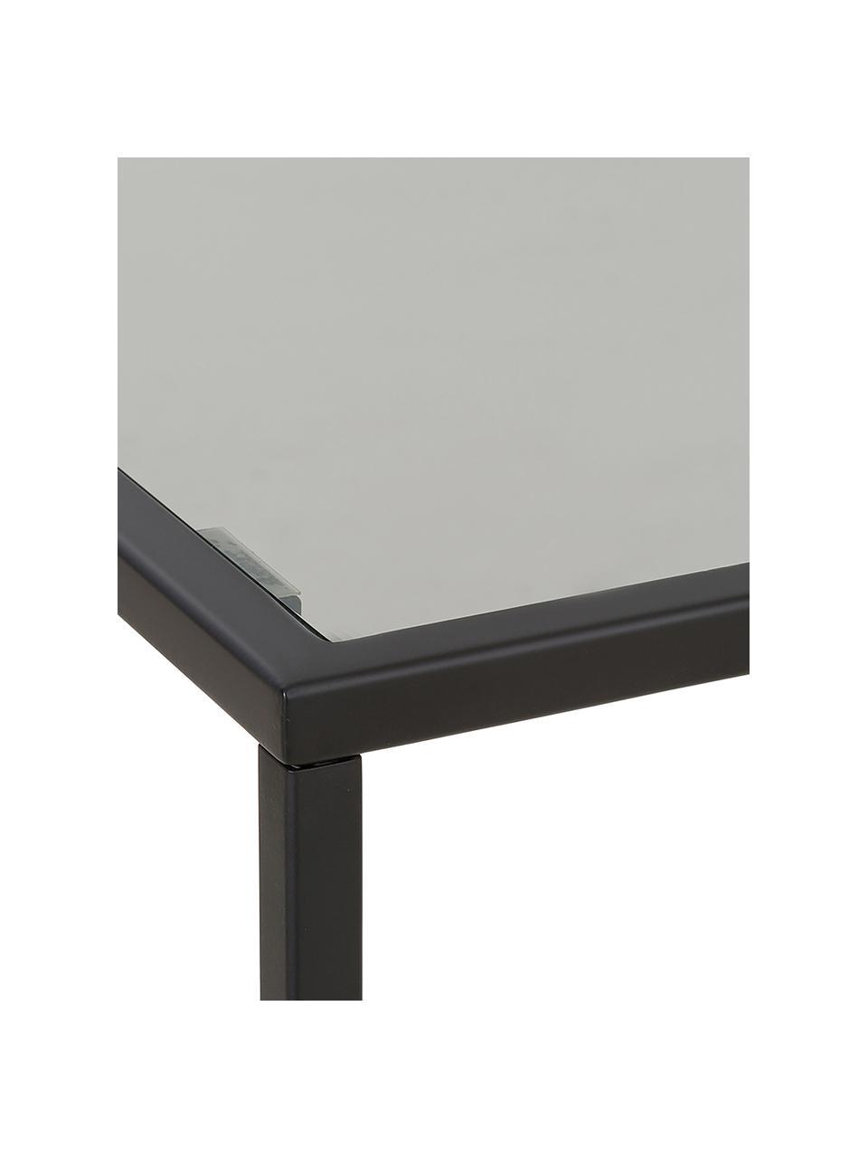 Beistelltisch Maya mit Glasplatte, Tischplatte: Sicherheitsglas, Gestell: Metall, pulverbeschichtet, Glas schwarz getönt, Schwarz, 45 x 50 cm