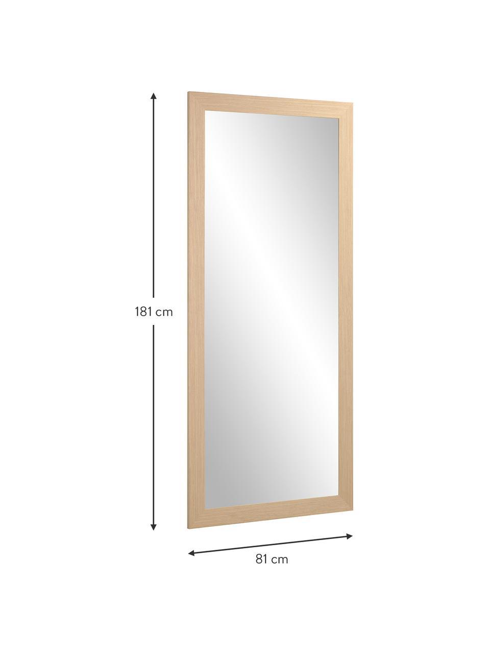 Leunende spiegel Yvaine met houten lijst, Lijst: hout, Beige, 81 x 181 cm