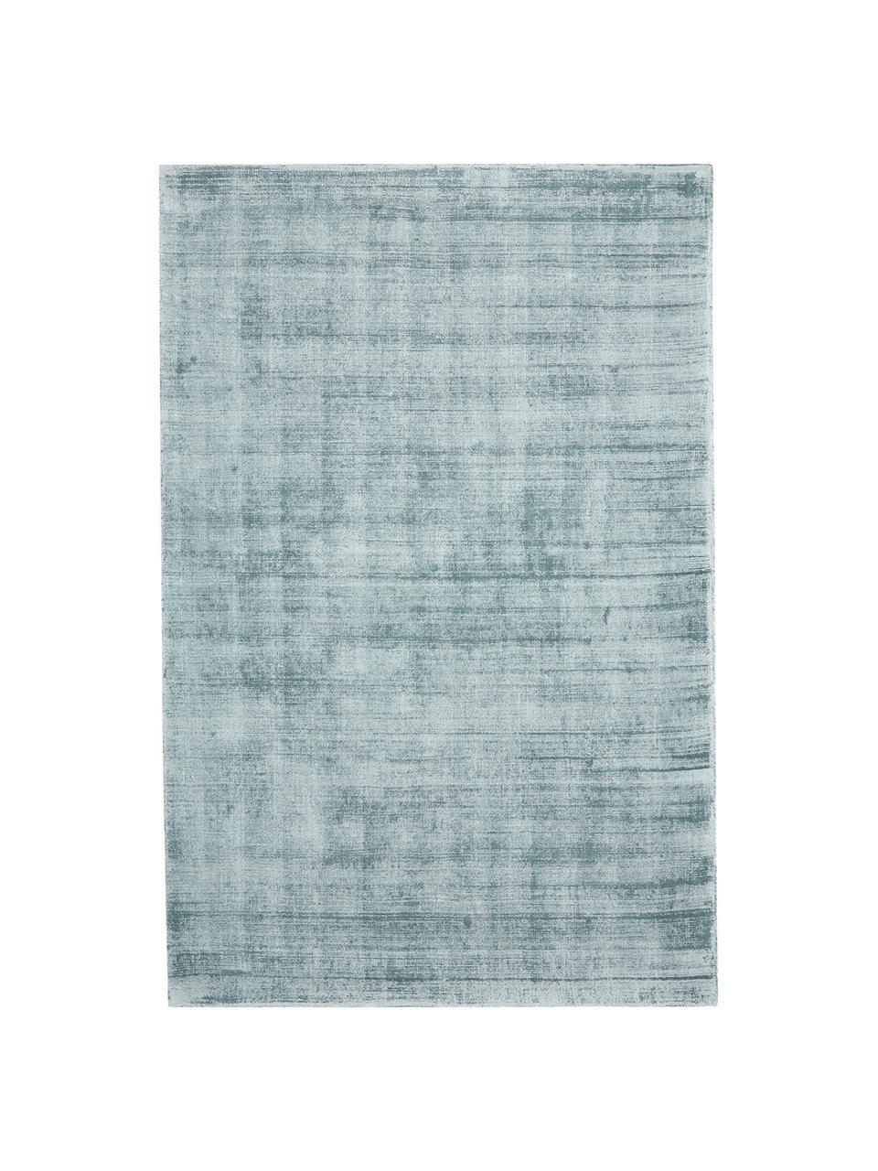 Alfombra artesanal de viscosa Jane, Parte superior: 100%viscosa, Reverso: 100%algodón, Azul hielo, An 200 x L 300 cm (Tamaño L)