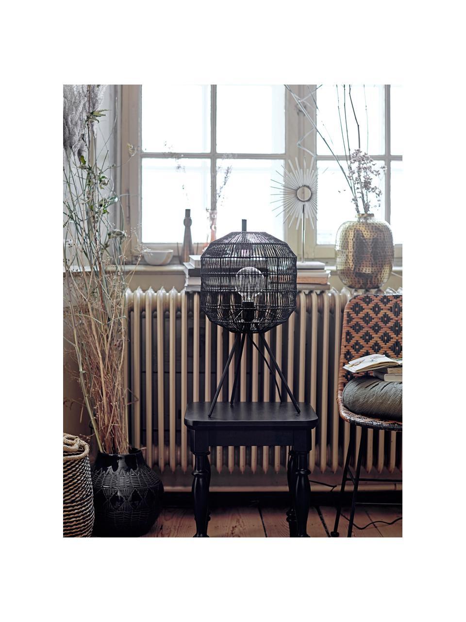 Rattan-Stuhl Kitty in Schwarz/Beige, Sitzfläche: Rattan, Beine: Metall, beschichtet, Schwarz, Beige, B 55 x T 44 cm