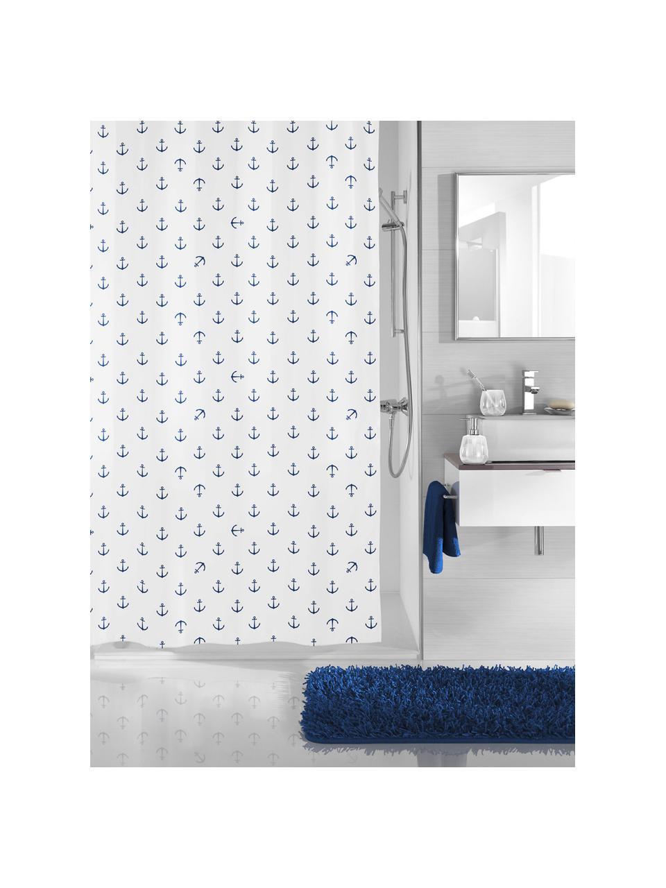 Rideau de douche avec imprimé ancre Anchor, Bleu foncé, blanc