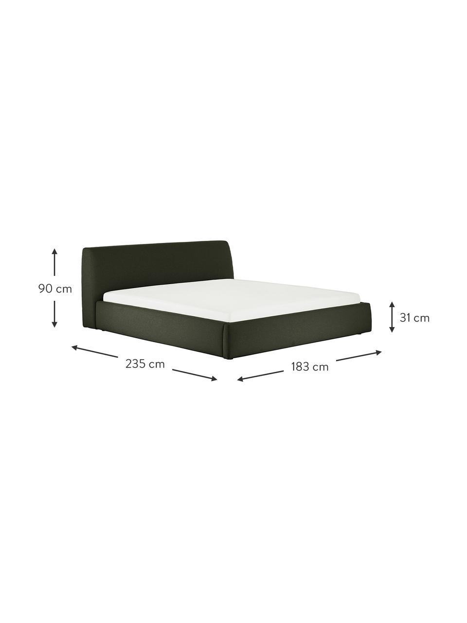 Łóżko tapicerowane z zagłówkiem Cloud, Korpus: lite drewno sosnowe, mate, Tapicerka: tkanina o drobnej struktu, Ciemny zielony, S 180 x D 200 cm