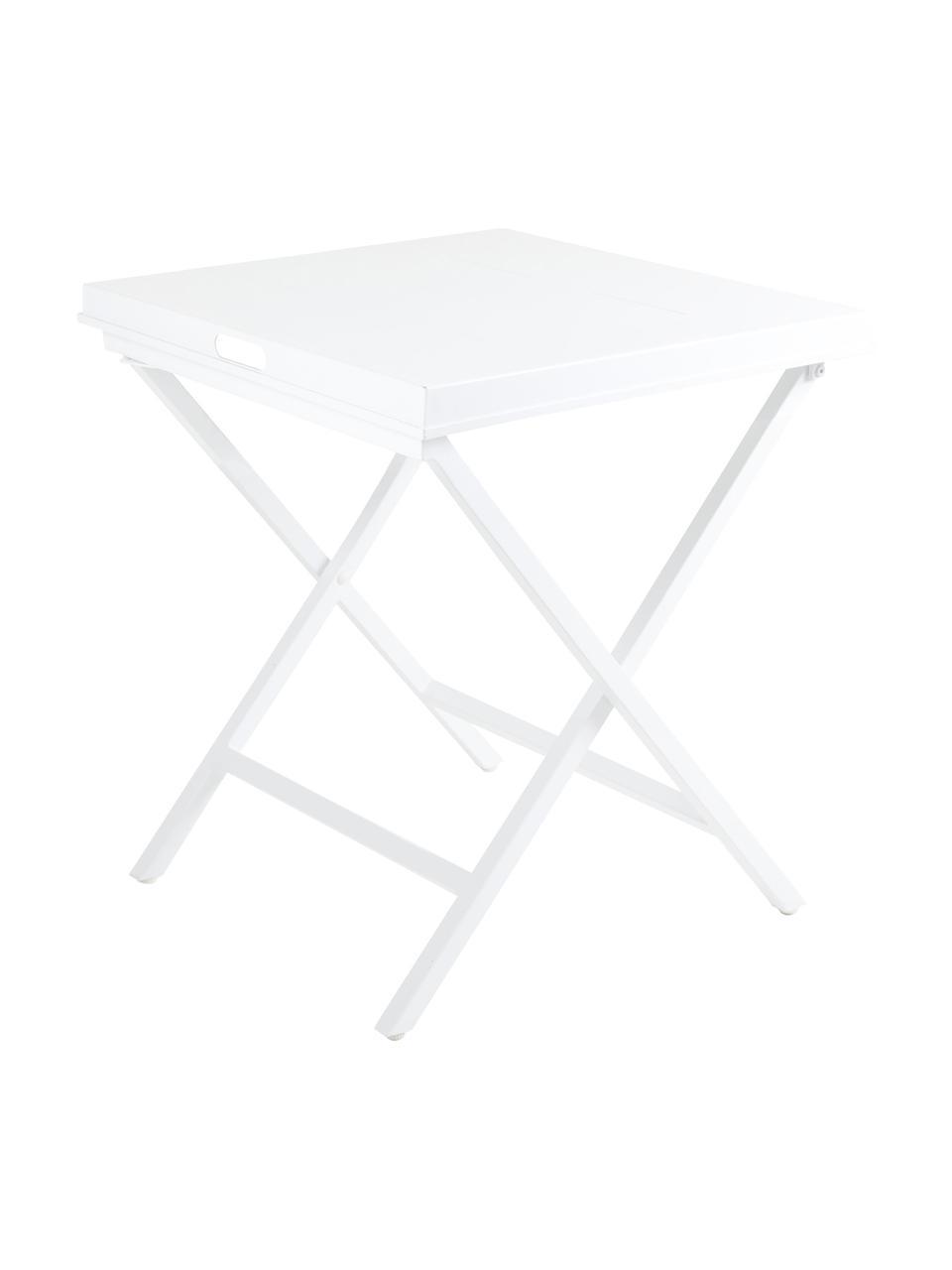 Składany stolik-taca Vero, Aluminium powlekane, Biały, matowy, S 60 x W 70 cm