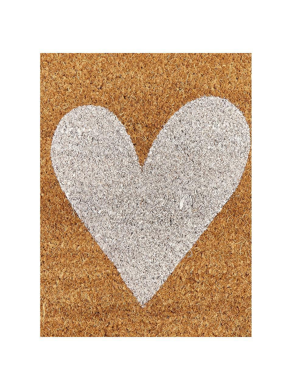 Zerbino in fibra di cocco Love, Retro: materiale sintetico (PVC), Fondo: beige, bianco Retro: nero, Larg. 40 x Lung. 60 cm
