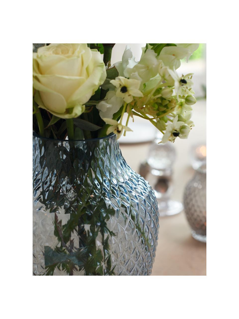 Handgefertigte Glasvase Poesia, Glas, Blau, Ø 19 x H 23 cm
