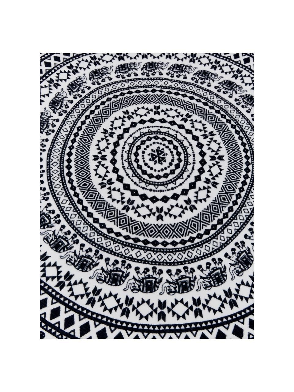 Rundes Strandtuch Goa, Vorderseite: 100% Velour (Baumwolle), Rückseite: Frottee (Baumwolle) Mitte, Schwarz, Weiß, Ø 150 cm