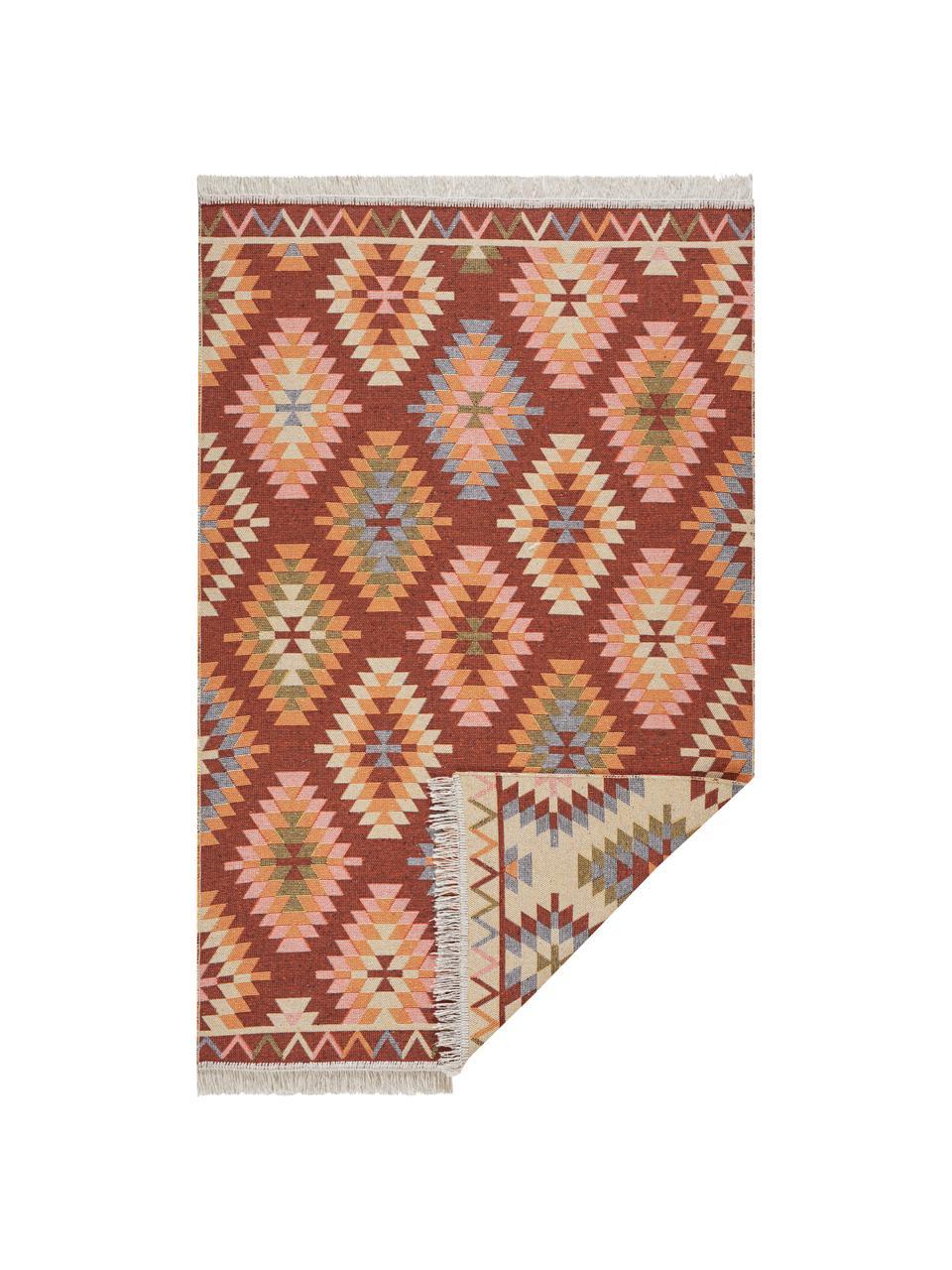Dünner Kelimteppich Tawi im Ethno-Style aus Baumwolle, 100% Baumwolle, Rot, Orange, Blau, Beige, Rosa, B 160 x L 220 cm (Größe M)
