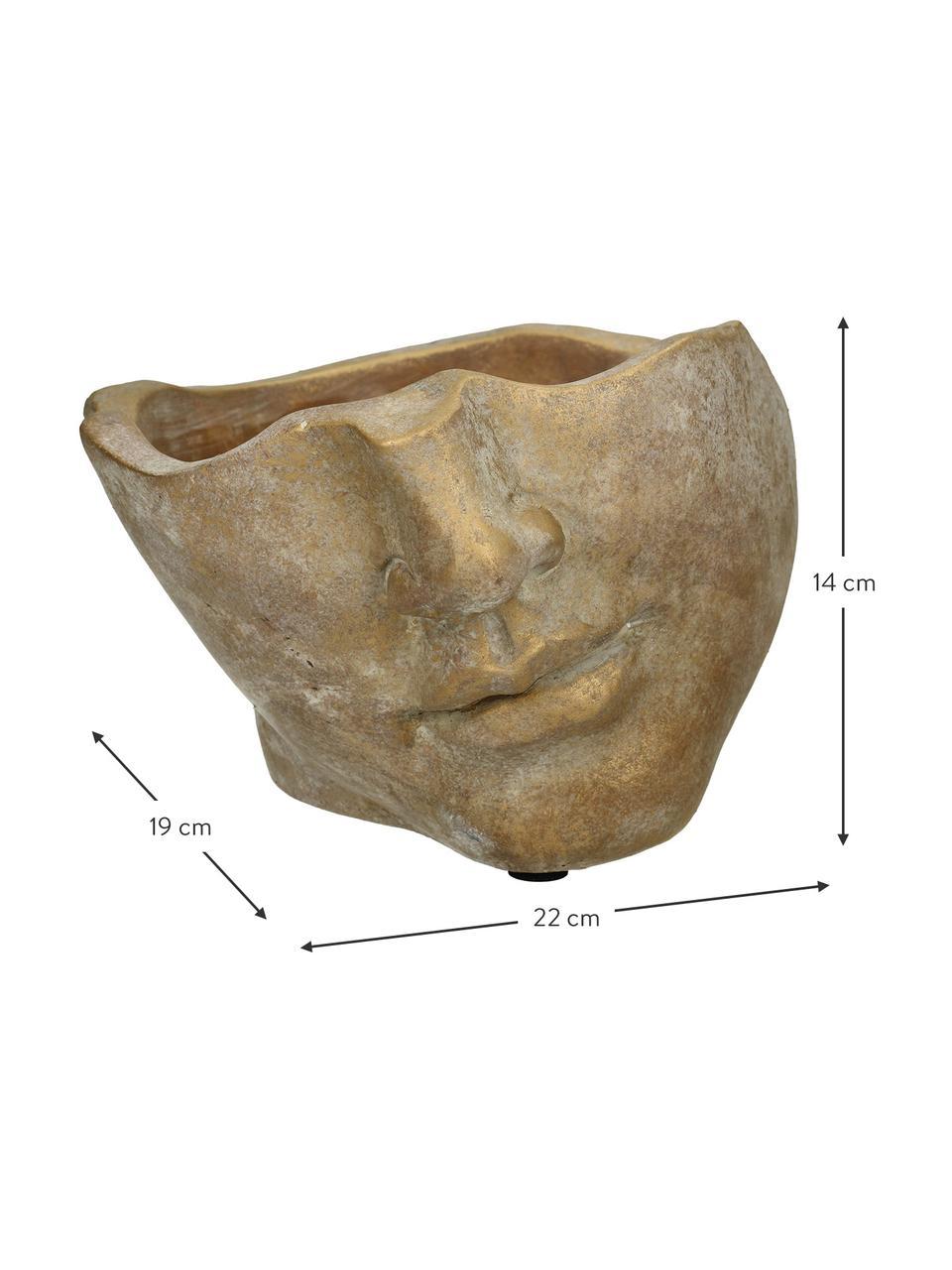 Osłonka na doniczkę Fluorite, Beton, Odcienie złotego, S 22 x W 14 cm