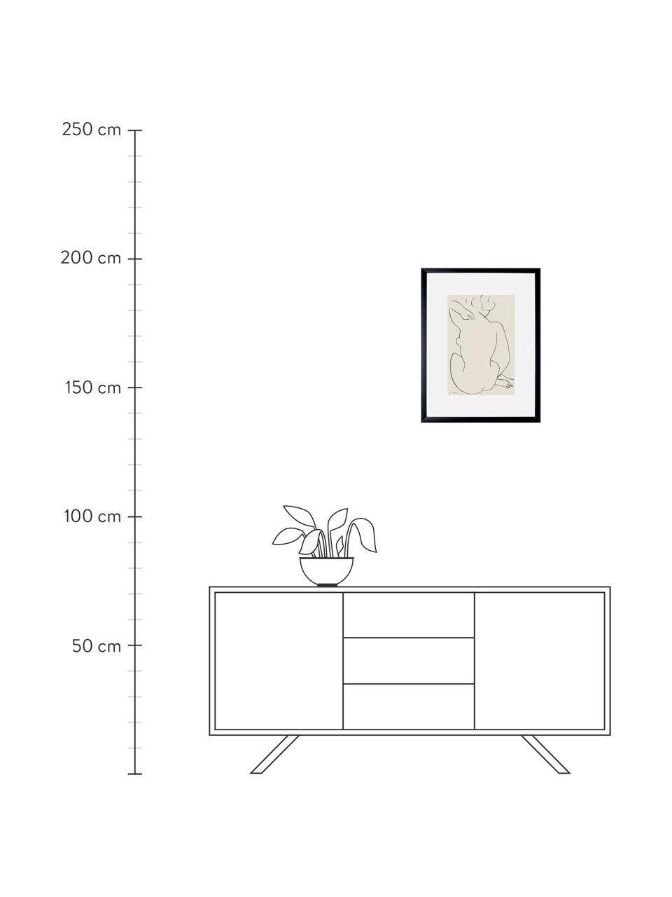 Impression numérique encadrée Matisse: Nu Accroupi, Multicolore
