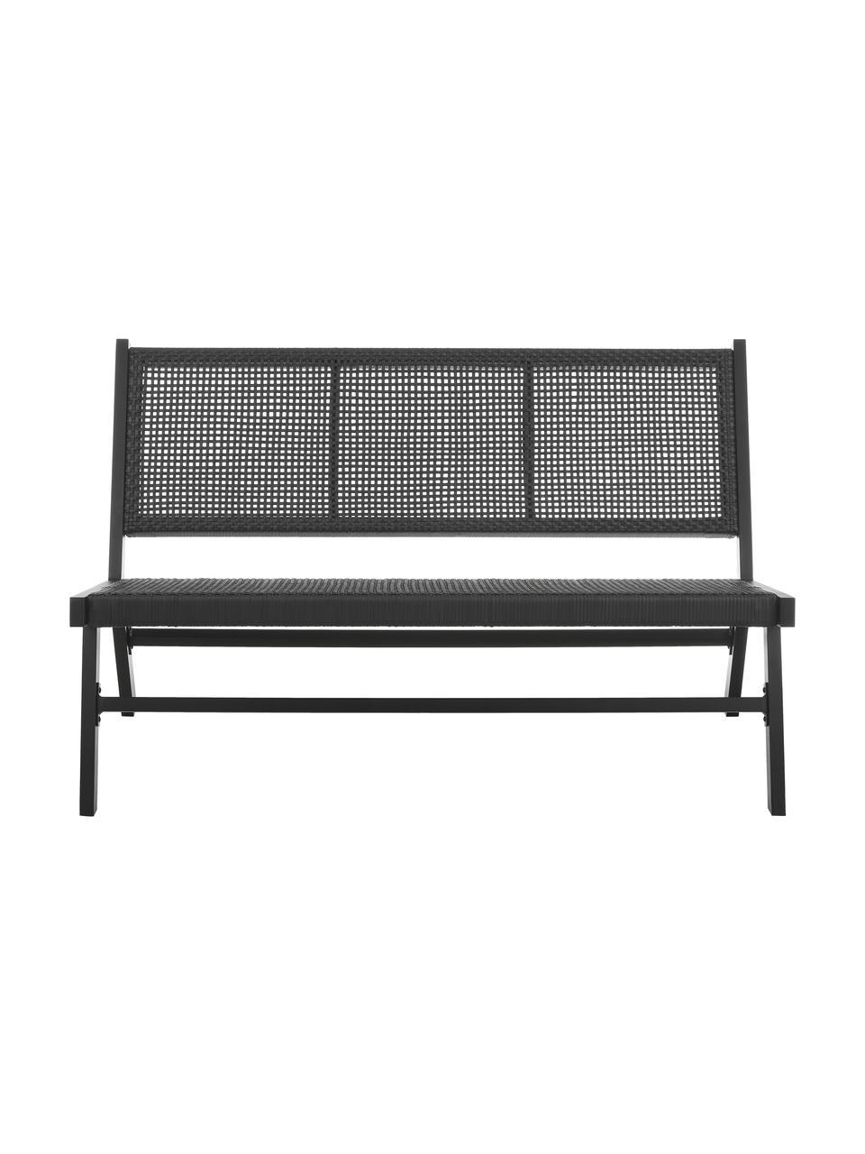 Zahradní lavička s pleteninou z umělé hmoty Palina, Černá