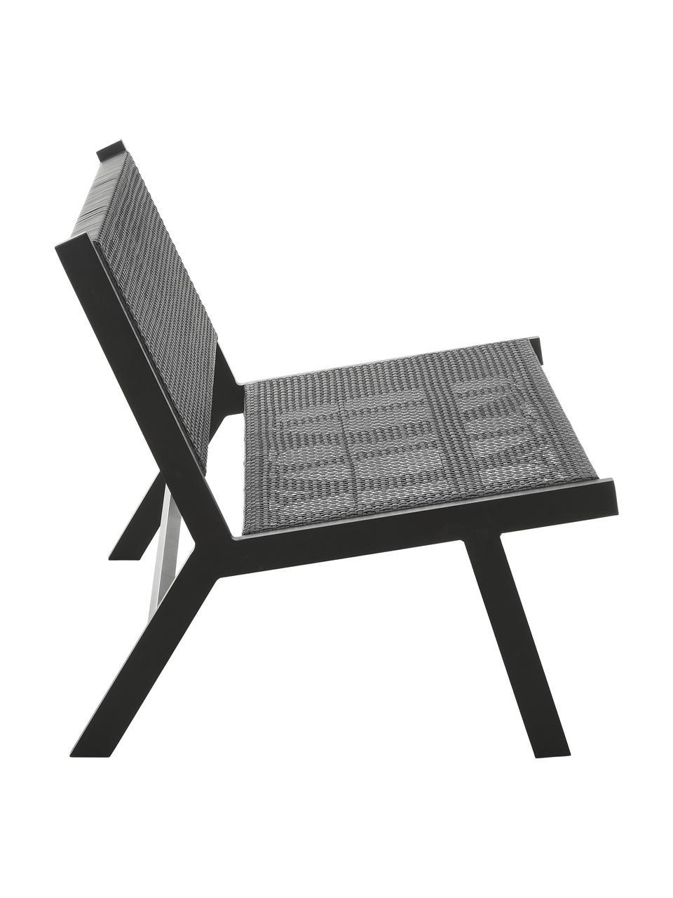 Tuinbank Palina met kunststoffen vlechtwerk in zwart, Frame: gepoedercoat metaal, Zitvlak: kunststoffen vlechtwerk, Zwart, 121 x 75 cm