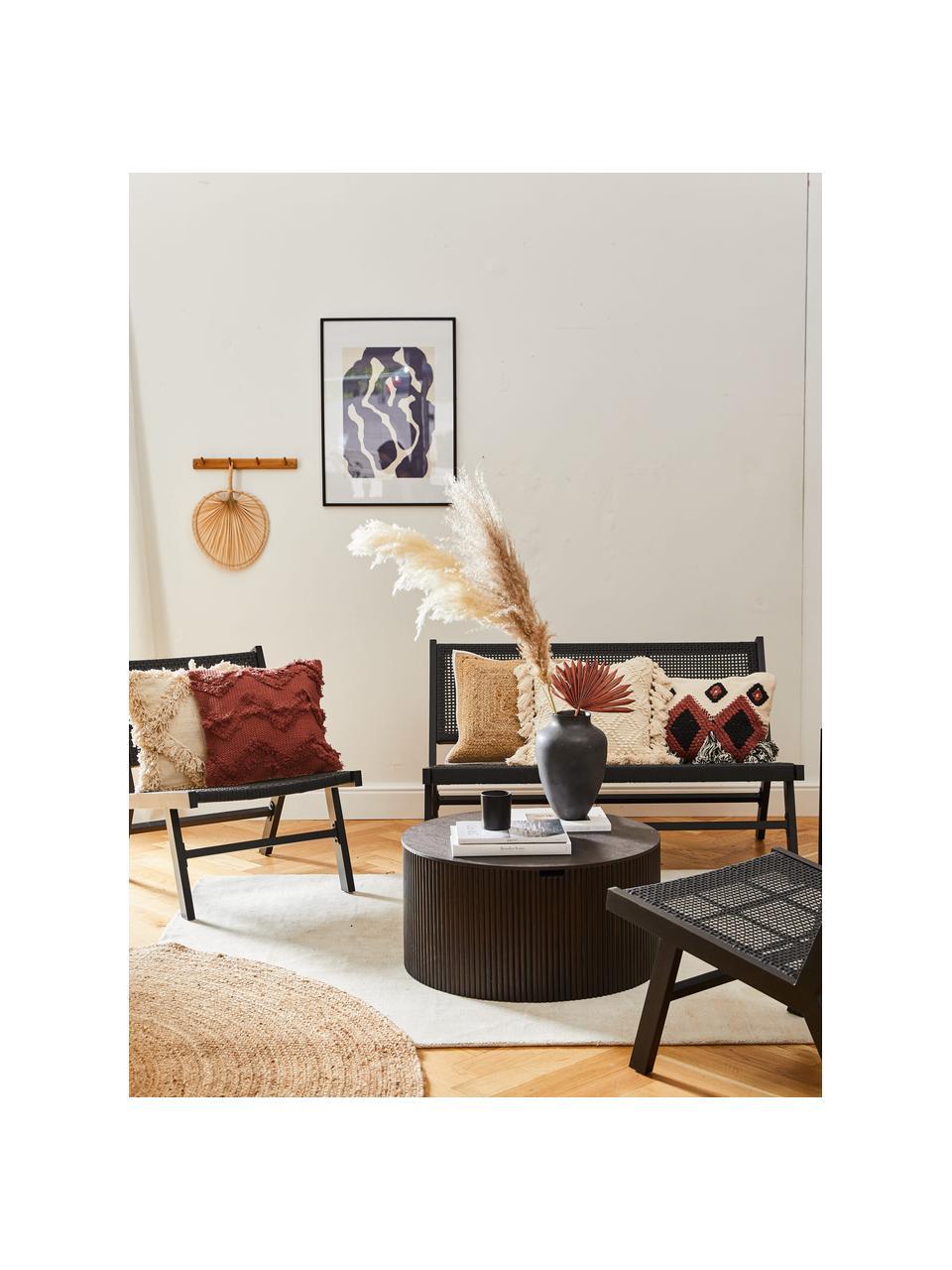 Gartenbank Palina mit Kunststoff-Geflecht in Schwarz, Gestell: Metall, pulverbeschichtet, Sitzfläche: Kunststoff-Geflecht, Schwarz, 121 x 75 cm