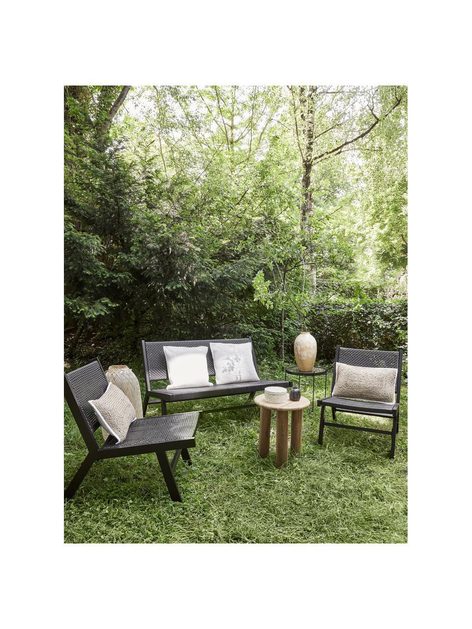 Ławka ogrodowa ze splotem z tworzywa sztucznego Palina, Stelaż: metal malowany proszkowo, Czarny, S 121 x W 75 cm