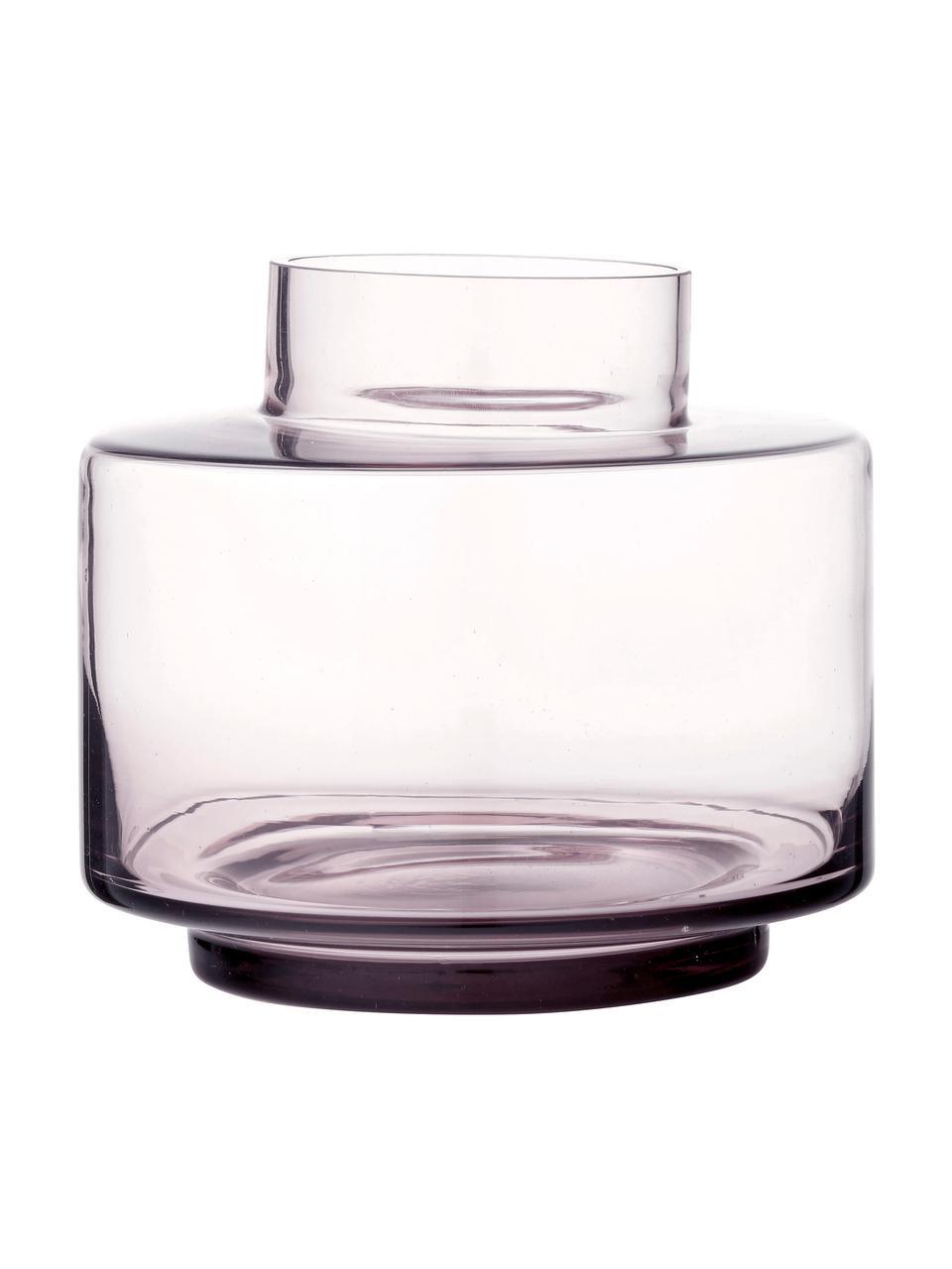 Wazon ze szkła dmuchanego Hedria, Szkło, Blady różowy, transparentny, Ø 18 x W 16 cm