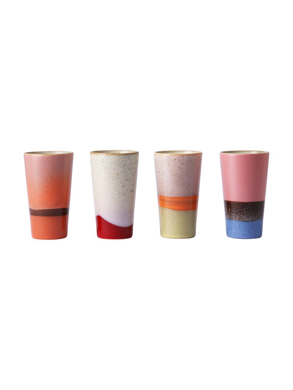 Handgemaakte bekersset 70's in retro stijl, 4-delig, Keramiek, Multicolour, Ø 8 x H 13 cm