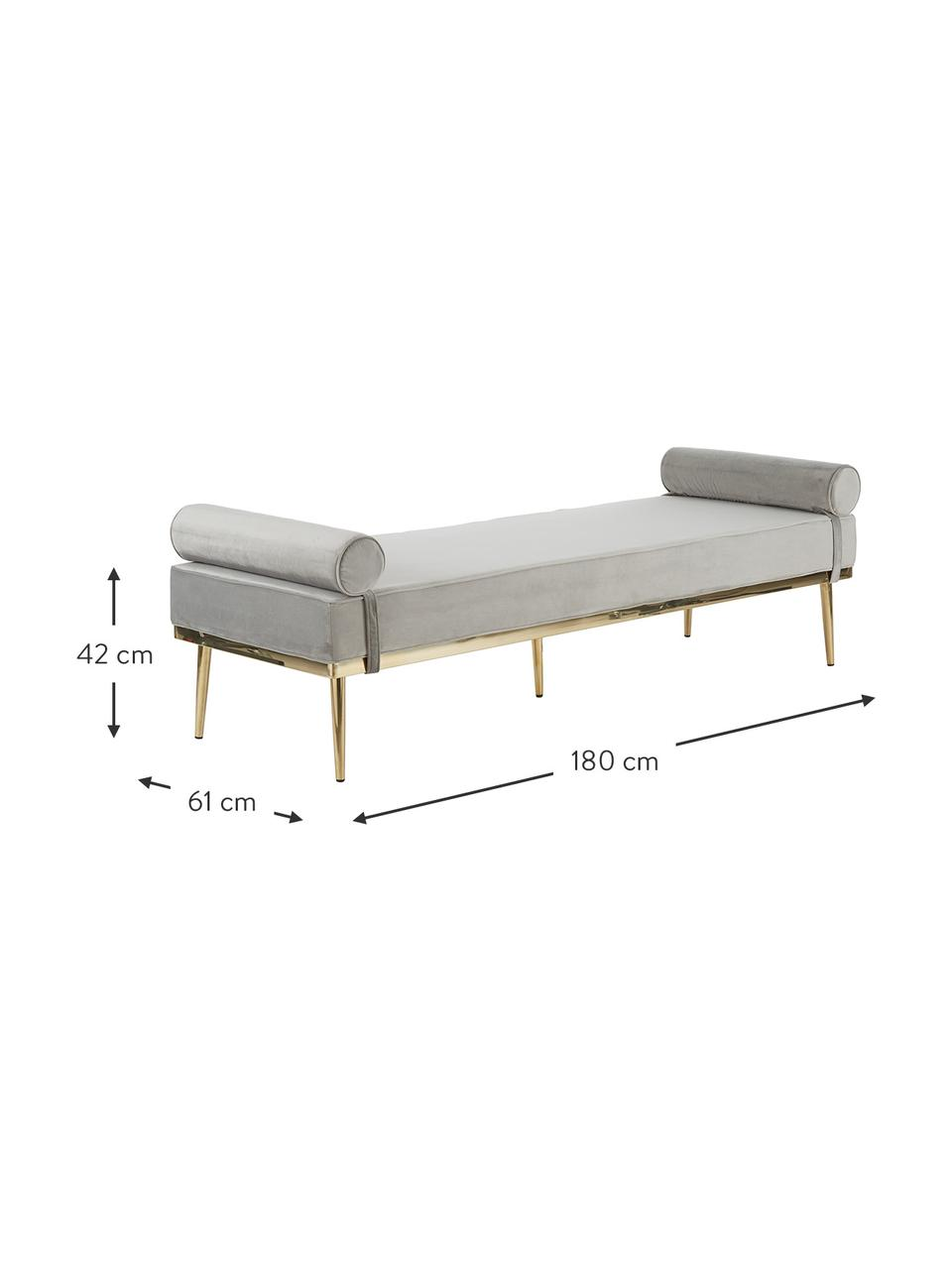 Chaise longue letto singolo in velluto grigio Aurora, Rivestimento: velluto (copertura in pol, Gambe: metallo rivestito, Velluto grigio, Larg. 180 x Alt. 42 cm