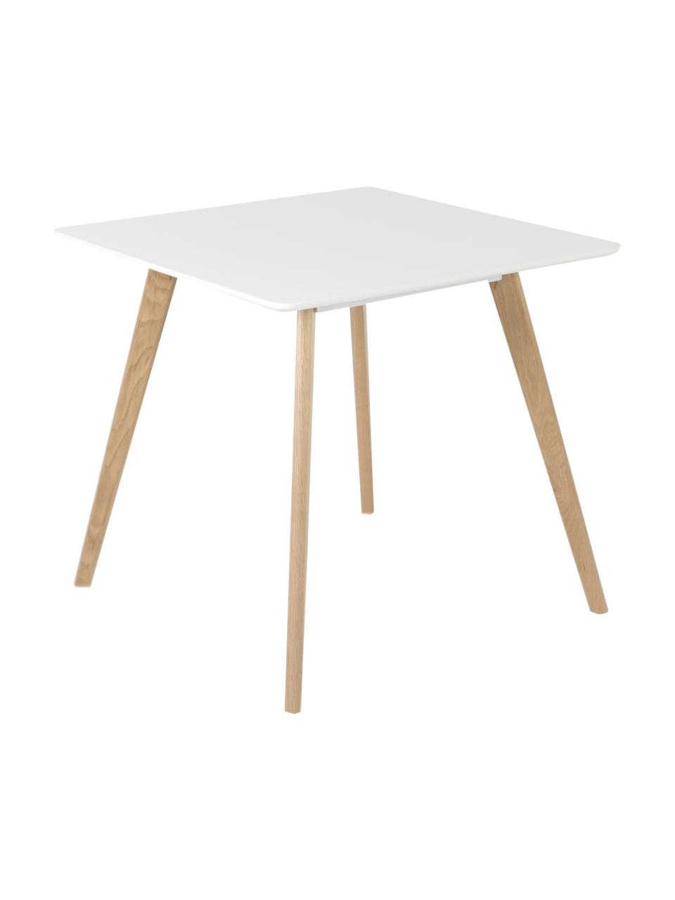 Stół do jadalni w stylu skandi Flamy, Blat: Płyta pilśniowa średniej , Biały, S 80 x G 80 cm
