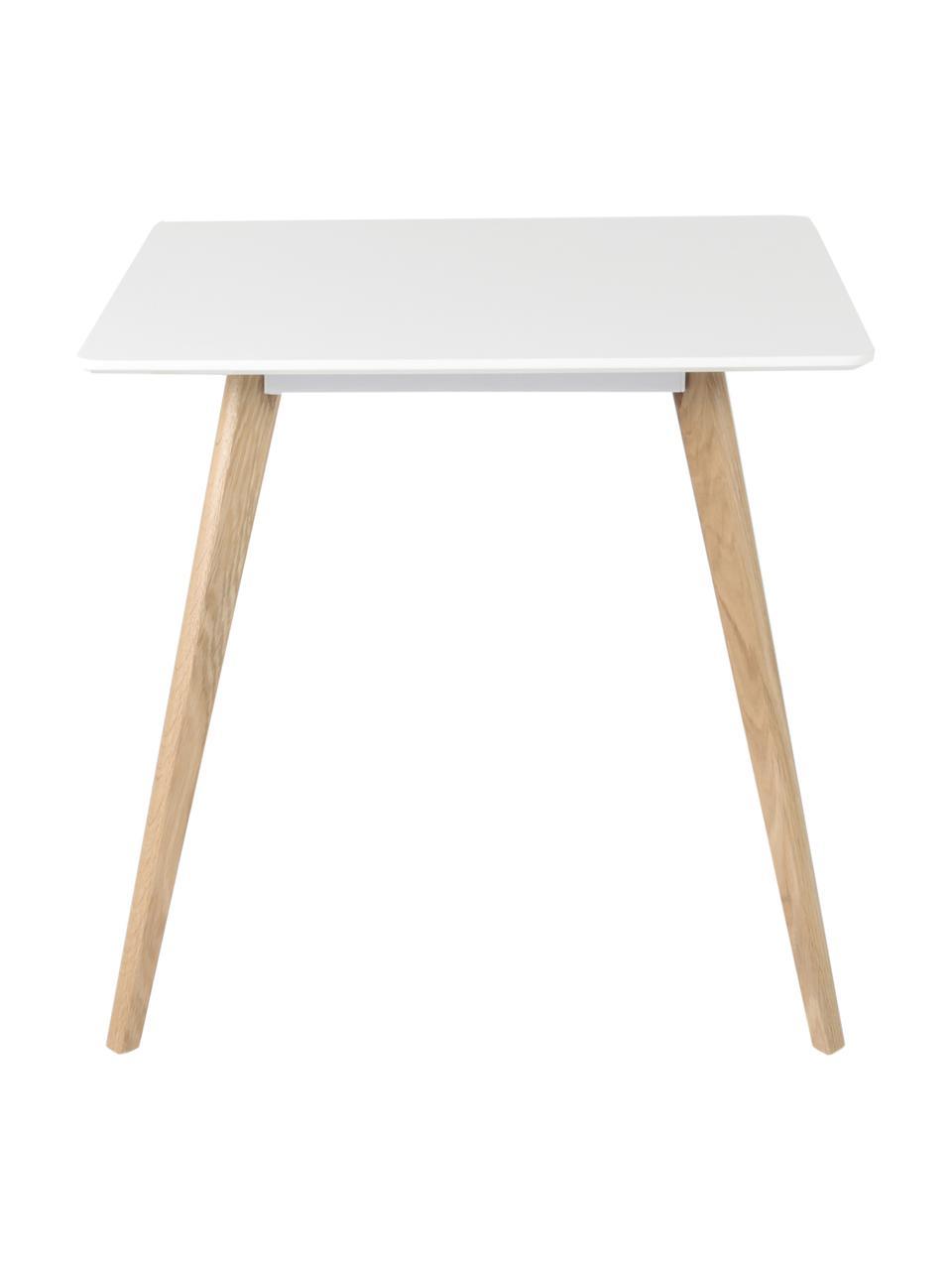 Kleiner quadratischer Esstisch Flamy im Skandi-Design, Tischplatte: Mitteldichte Holzfaserpla, Weiß, Eichenholz, B 80 x T 80 cm