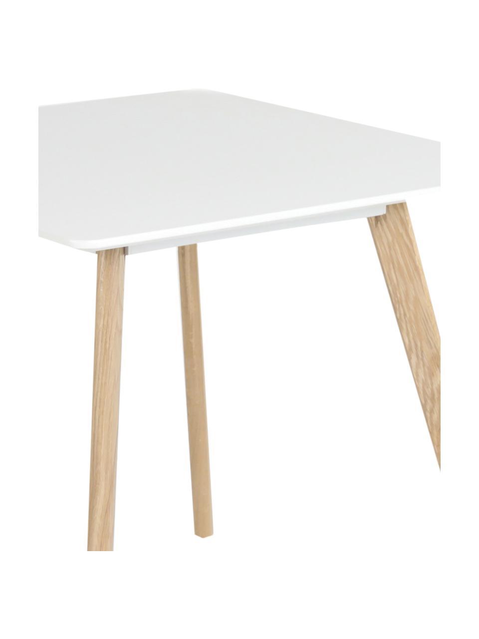 Stół do jadalni Flamy, Blat: Płyta pilśniowa średniej , Biały, S 80 x G 80 cm