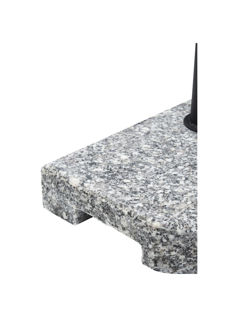 Granit Sonnenschirmständer The Rock mit Griff, Granit, Stahl, beschichtet, Grau, Schwarz, 40 x 33 cm