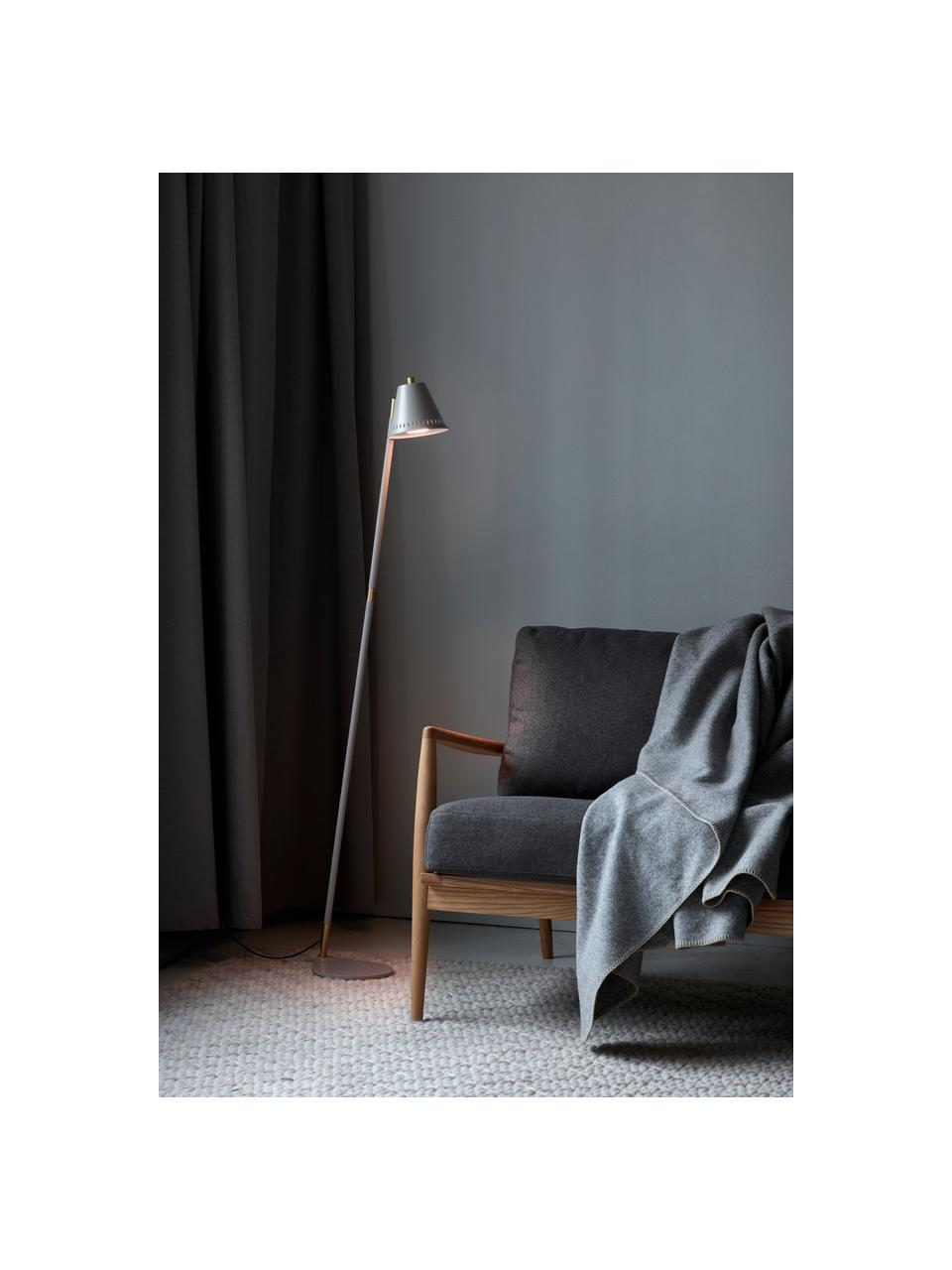 Kleine Retro-Leselampe Pine, Lampenschirm: Metall, beschichtet, Lampenfuß: Metall, beschichtet, Dekor: Metall, beschichtet, Grau, Messingfarben, 37 x 133 cm