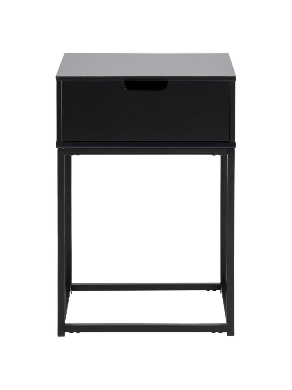 Table de chevet avec tiroir Mitra, Noir