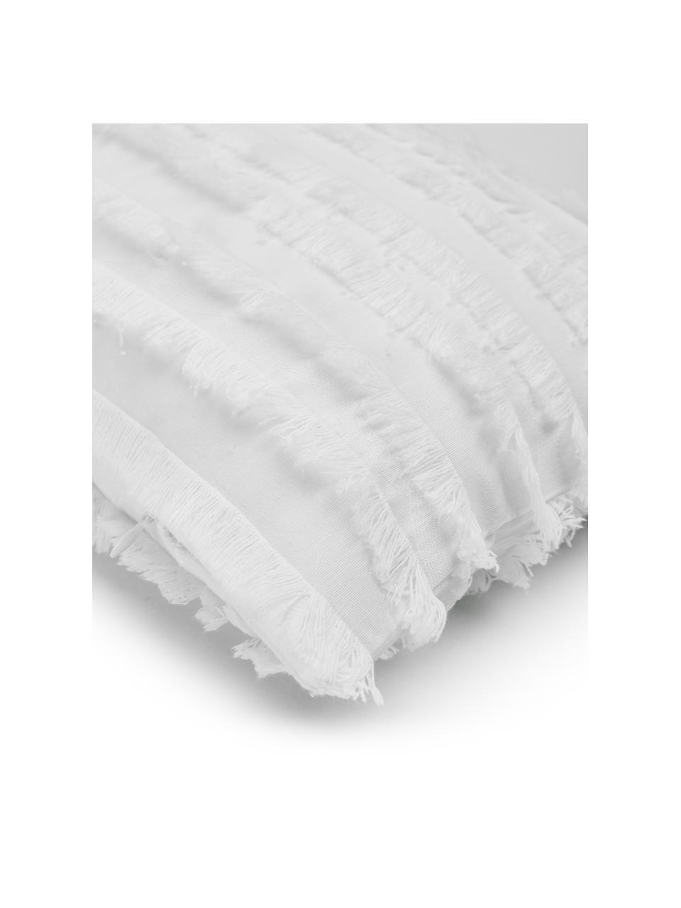 Kissenhülle Jessie in Weiß mit dekorativen Fransen, 88% Baumwolle, 7% Viskose, 5% Leinen, Weiß, 30 x 50 cm
