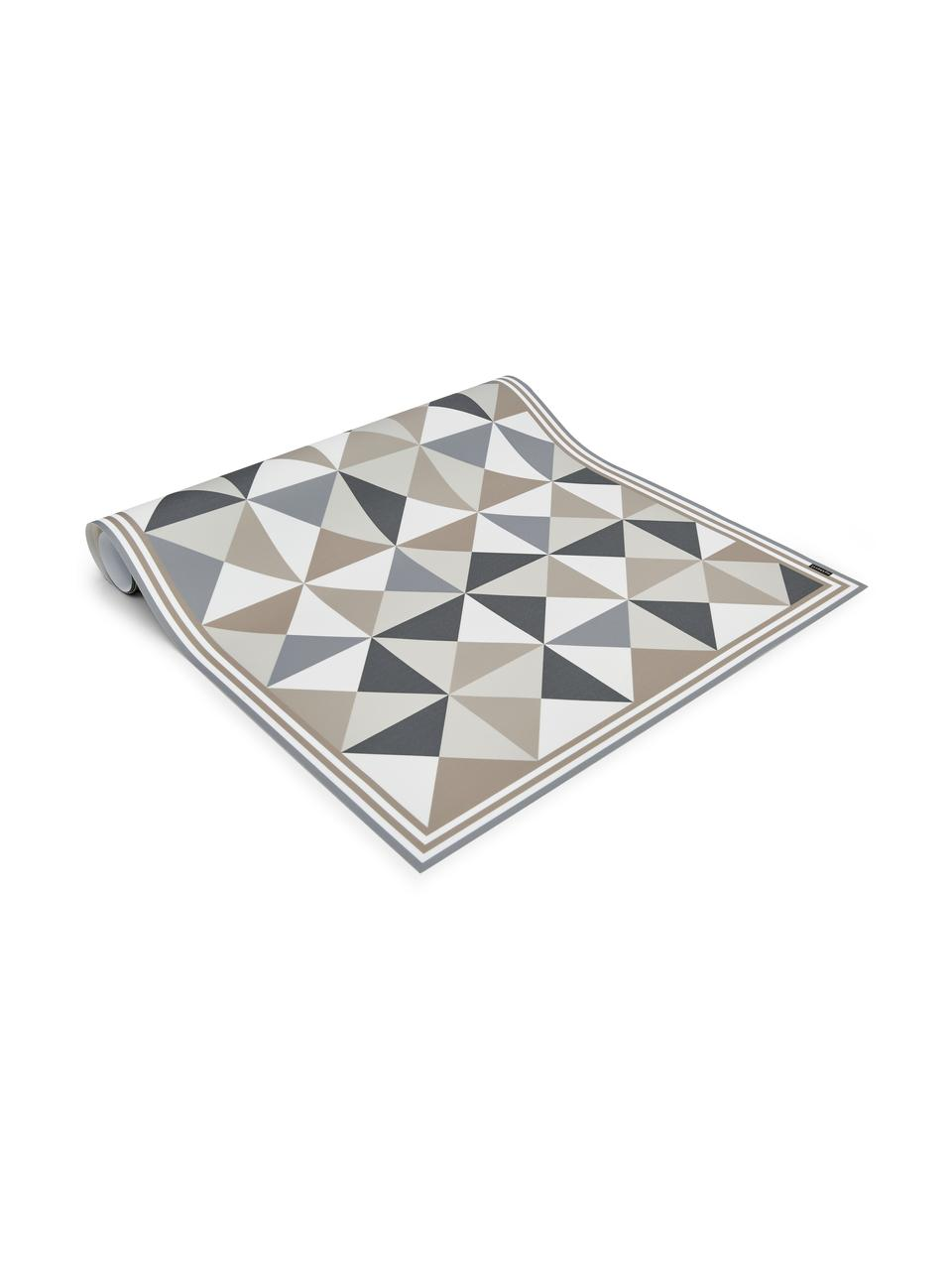 Tapis antidérapant intérieur extérieur en vinyle Haakon, Tons gris, tons beiges, blanc