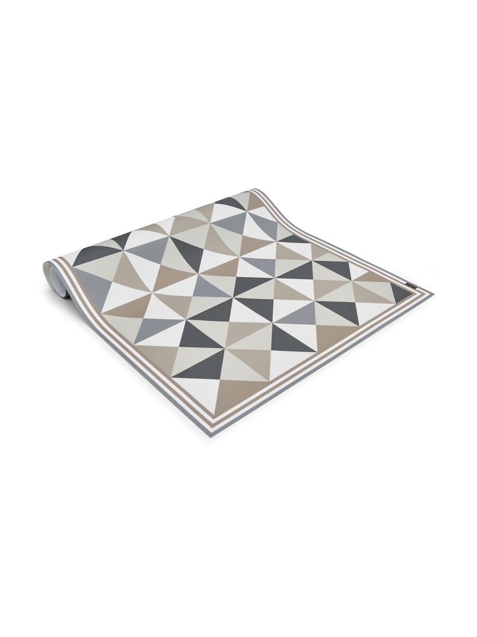 Vlakke vinyl vloermat Haakon in grijs / beige, antislip, Recyclebaar vinyl, Grijstinten, beigetinten, wit, 65 x 255 cm
