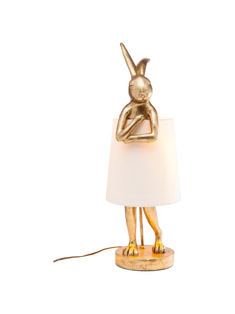 Lampada da tavolo di design Rabbit, Paralume: lino, Base della lampada: poliresina, Asta: acciaio verniciato a polv, Bianco, dorato, Ø 23 x Alt. 68 cm