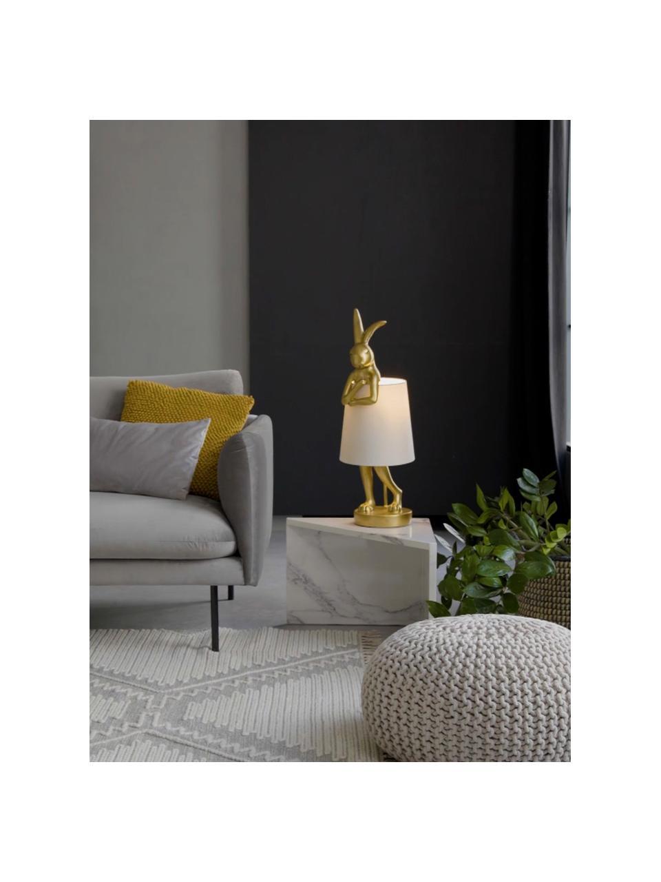 Grote design tafellamp Rabbit, Lampenkap: linnen, Lampvoet: polyresin, Stang: gepoedercoat staal, Wit, goudkleurig, Ø 23 x H 68 cm