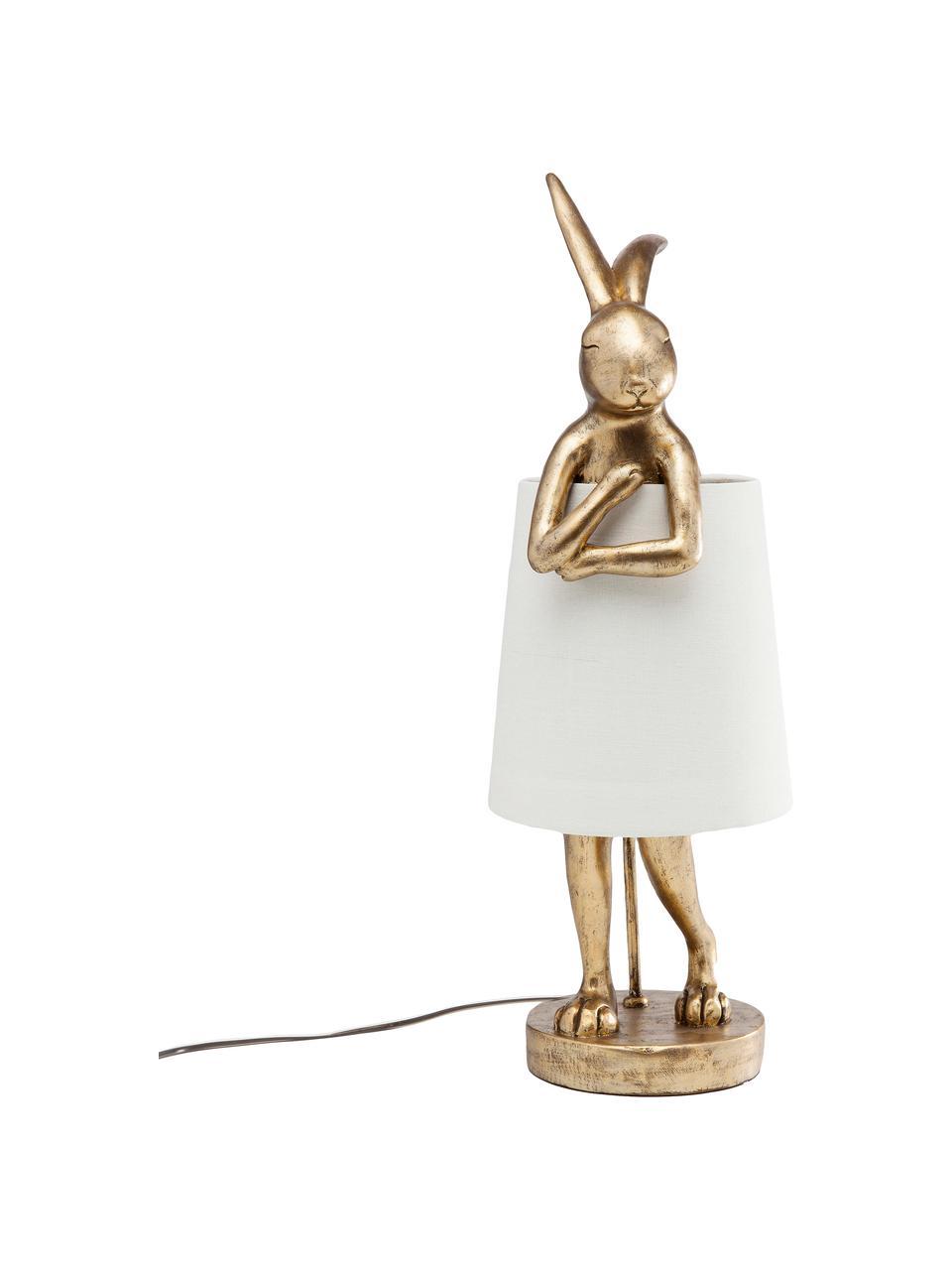 Große Design Tischlampe Rabbit, Lampenschirm: Leinen, Lampenfuß: Polyresin, Stange: Stahl, pulverbeschichtet, Weiß, Goldfarben, Ø 23 x H 68 cm