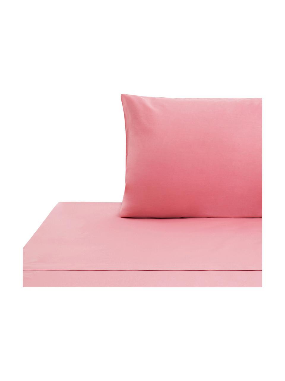 Set lenzuola in cotone rosa Lenare, Fronte e retro: rosa, 150 x 290 cm + 1 federa 50 x 80 cm