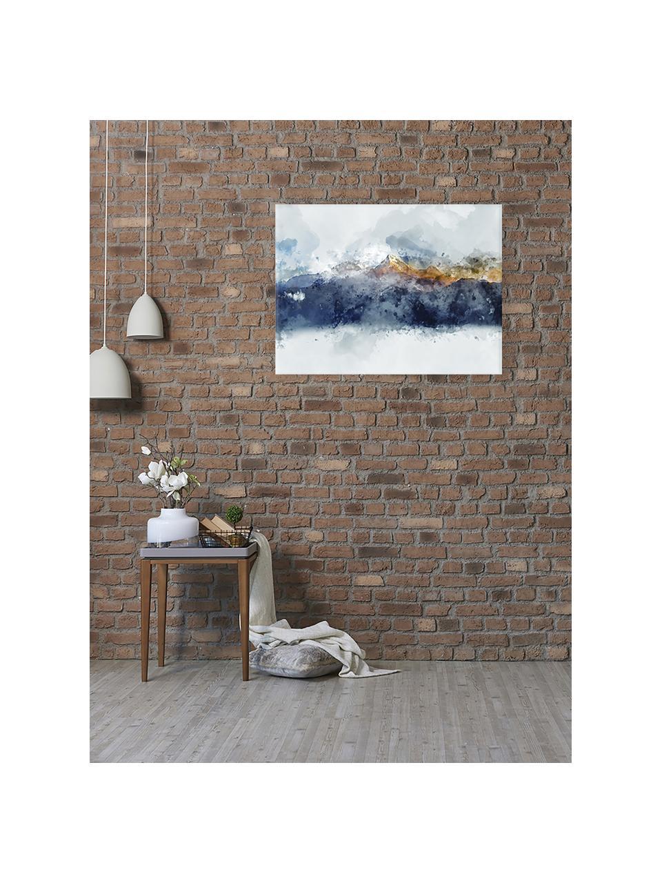Leinwanddruck Abstract Mountain, Bild: Digitaldruck auf Leinen, Mehrfarbig, 80 x 60 cm