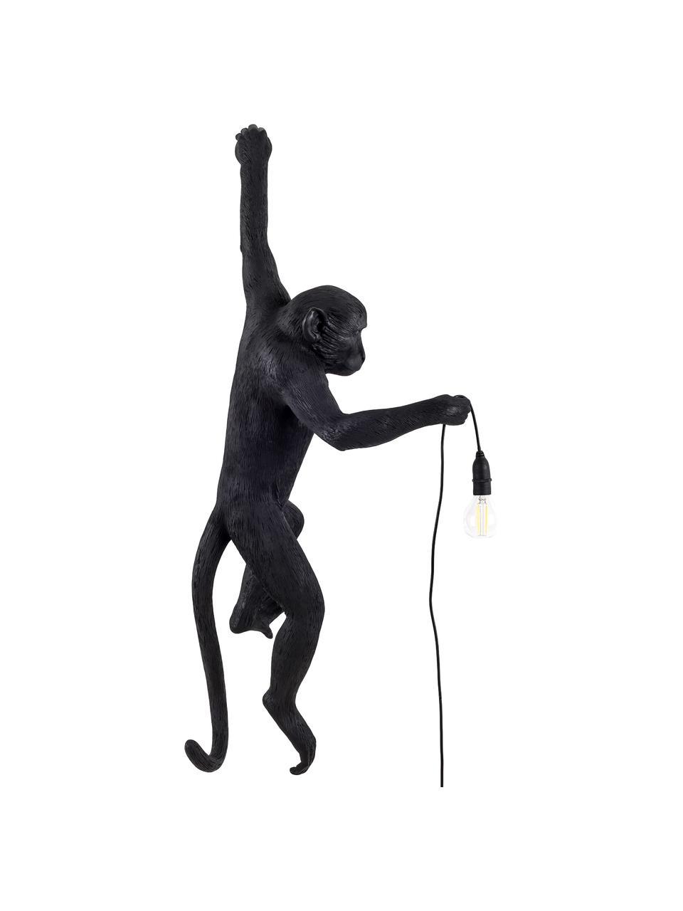 Applique da esterno con spina Monkey, Lampada: resina sintetica, Nero, Larg. 37 x Alt. 77 cm